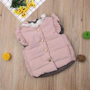 Vest Toddler Kids Girls Baby Coat Solid Button Ruffles O-Neck Bowknot Gilet Winter Waistcoat Bodywarmer Fashion