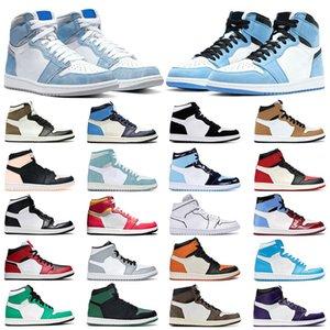 2021 Mens sneakers 1s basketball running shoes 1 University Blue Dark Mocha Obsidian Hyper Royal Silver Toe Twist Shadow UNC womens sports trainers