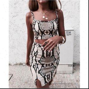 Womens Tracksuits 섹시한 두 조각 세트 빈티지 뱀 가죽 인쇄 복장 여성들이 옷 치마 여름 파티 의류 숙녀를 설정합니다