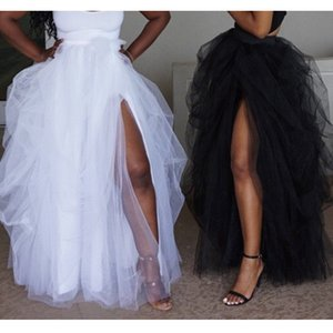 Female fashion maxi tulle elastic high waist floor jupes front asymmetric rift ladies tutu faldas mujer skirt V4UF