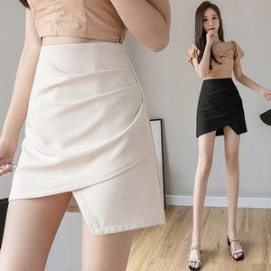 Limiguyue High Cintura irregular Una línea Falda Slim Mujeres Sólido Faldas Cortas Fondos Saias Moda Femme Jupes Chicas K272