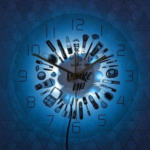 Wake Up & Make Cosmetics Collection Modern Wall Clock Beauty Salon Business Sign Set Silent Movement Clocks
