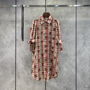 2021 1 2 Sleeve Lapel Neck Print Fashion Milan Runway Dress Designer Dress Brand Same Style Dress 0318-1