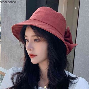 Summer Hats Female Bifurcate Bowknot Hat Sun After Folding Beach Fisherman Wide Brim