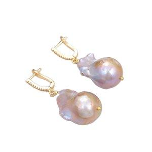 GuaiGuai Jewelry Cultured Purple Keshi Baroque Pearl Cubic Zirconia Pave Lever Back Dangle Earrings Handmade For Women Real Gems Stone Lady Fashion Jewellry