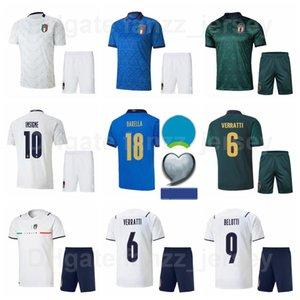 2020-2021 Europa Copa Fútbol Italia 20 Federico Bernardedeschi Jersey Set White Blue 3 Giorgio Chiellini 21 Andrea Pirlo Giuseppe De Rossi Euro Patch Camisa de Fútbol Kits