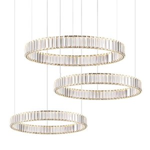 Silver Golden Stainless Steel Crystal Lucky Ring Lustre LED Chandelier Lighting Suspension Luminaire Lampen For Dinning Room Chandeliers