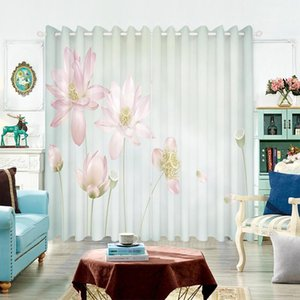 Curtain & Drapes Classical Pastoral 3d Blackout Pink Lotus Green Leaf Pattern Thicken Velvet Fabric Bedroom For Living Room