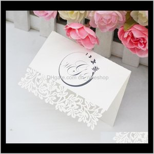 Greeting Event Festive Supplies Home & Garden Drop Delivery 2021 300 Pieces Printing Laser Cut Floral Custom Wedding Party Place Cards Cbnv4