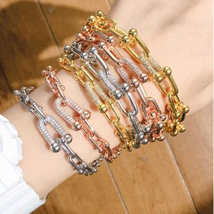 Japan Korea Women Bracelet High Quality Stainless Steel Luxury Jewelry Punk Zircon Gift Designer Gift Chain 210609