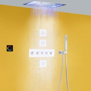 Bathroom Shower Sets Chrome Polished Thermostatic Rain Head Set 14 X 20 Inch LED Ceiling Rainfall