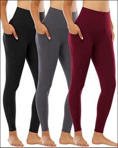 Femmes Pantalon de Yoga avec poches Haute Taille Sports Sports Gym Port Leggings Fitness élastique Dame Globalement Collants plein d'entraînement