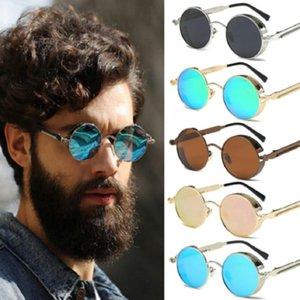 Mirrors Vintage Retro Polarized Steampunk Sunglasses Fashion Metal Round Mirrored Eyewear Men Circle Sun Glasses UV400