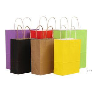 Shopping Bags Kraft Paper Multifunction High Quality soft colorful bag with handles Festival Gift Packaging 21x15x8cm DWD10902