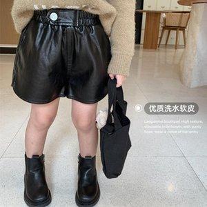 Shorts Toddler Girl Fall Clothes 2021 Black PU Leather Baby Girls Autumn Kids Children Bottoms Fashion Korean 3 To 8 Yrs