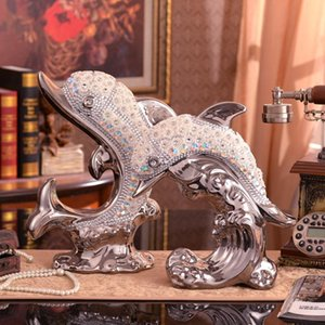 European Ceramic Plating Dolphin Living Room Table Wine TV Cabinet Decoration Ice Buckets And Coolers