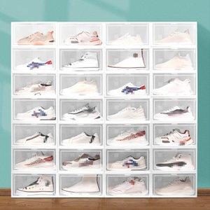 Складная коробка для хранения обуви Главная Организатор пластиковый прозрачный штабелированный дисплей Наложенная комбинация пылезащитные баскетбольные ботинки контейнеры кабинета коробки