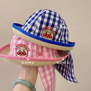 caps Children's Japanese bread Superman straw versatile Summer Boys and girls baby sun dome top hat