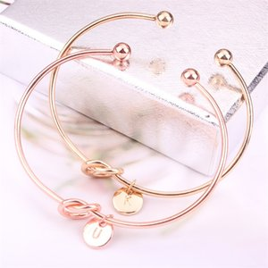 26 letter Rose Gold Silver Gold Love Knot Bracelet women's jewelry personality Round Pendant Chain Bracelet 425 T2