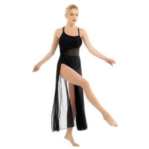 Stage Wear Women Asymmetrical Mesh Ballet Tutu Dress Long Gymnastics Leotard Adult Lyrical Dance Performance Competition