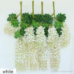 White Artificial Silk Wisteria Garlands Simulation Fake Flower Plant Vine Home Garden Decor Wedding Party Decoration Rattan Decorative Flowe