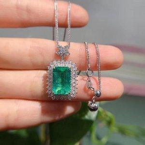 Halsketten Mode AEAW 18K Weißgold 4.195ct Natürlicher Smaragd Grüner Edelstein 1.179ct Diamant Halskette Frauen Schmuck