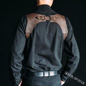 Uomini spalla Sosposens Azione Cablaggio in pelle Body Body Belt Cintura Medioevale Costume Armoristo Cosplay Mens Clubwear Bras Set