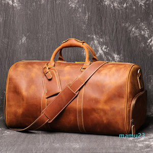 Mens Travel Bag Full Grain Genuine Leather Travel Duffel Bag Tote Overnight Carry On Luggage Weekender Bags