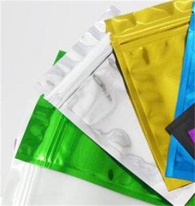 100pcs / lot fermeture à glissière haut de gaine mylar feuille de feuille reclosable aluminium feuille zipper serrure sac de paquet de paquet chaud scellable alimentaire échantillon d'épicerie d'épicerie mylar sacs 218 v2