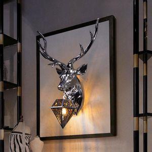 Nordic Chrome Antler Wall Lamp Retro Resin Deer Lamps Home Decor Sconce Bedroom Buckhorn Kitchen Hanging Lights