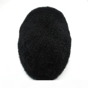 Fast shipping handtied Double drawn natural human remy hair piece full pu toupee for Black Men