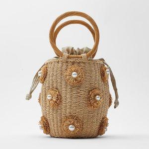 fashion flower pearls rattan buckets bag for women luxury design diamonds wicker woven handbags summer beach straw large totes