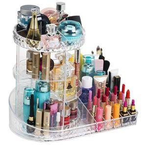 Степень вращающийся макияж Организатор 3-уровня Акриловый прозрачный косметический чехол для хранения PVC дисплей вращающиеся стойки
