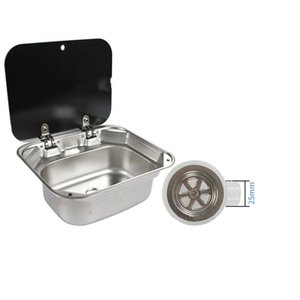 Accessories TOPWELLRV Top Sales Caravan Boat RV Stainless Steel Hand Wash Basin Sink With Tempered Glass Lid ATV Parts