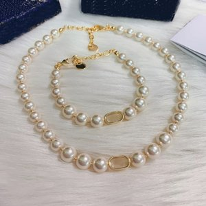 Fashion Pendant Necklaces Gold Pearl Necklace Bracelets Chokers for Lady Women Party Wedding Lovers Gift Jewelry for Bride with Box LZ0605