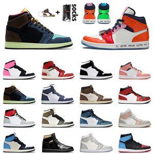 High Og Bio Hack sans peur 1S Basketball Chaussures Noir Milan Milan Pink Quartz Unc Chicago Jumpman Entraîneurs Sneakers 36-46