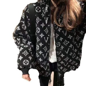 Women's Jackets Fall Winter jacquard collar with heavy lamb coat Loose jacket in matching style S-XLL