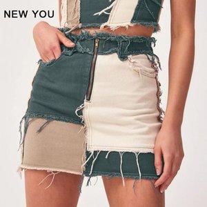 Skirts Women Skirt Hip Hop Girls Buttocks A-line Stitching Mid-waist Tassel Short Zippers Mini Denim Woman
