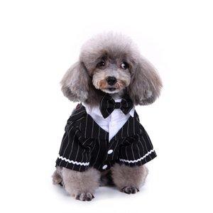 신사 애완 동물 양복 개 옷 공식 스트라이프 나비 넥타이 턱시도 웨딩 Groomsmen 천으로 크리스마스 할로윈 의상 Cospaly 의류