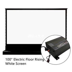 Vividstorm 100 pulgadas eléctrica eléctrica en aumento del piso de la pantalla del proyector tensado con el cine HD de 4K cortina blanca de la película para la proyección de tiro normal de la habitación oscura interior