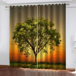 Curtain & Drapes Custom Nautre Scenery Tree Curtains Po Printing Blackout 3D For Living Room Bedding El
