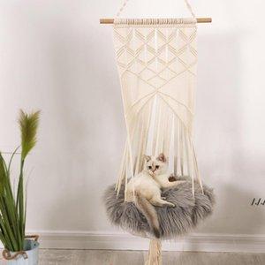 Chat swing hamac boho style cage lit à la main suspendus chaise de chambre sièges tassel chats jouet jouet coton corde animaux domestiques maison dwa5594