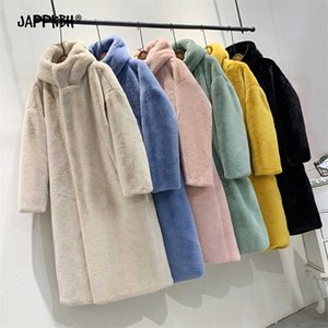 Hooded Faux Fur Coat Women Autumn Winter Casual Loose Long Female Jacket Fur Plush Thick Warm Cotton Lining Outwear Clothes 211019