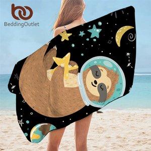 BeddingOutlet Sloth Bath Towel Cartoon Animal Summer Beach Towel Planet Stars Sunblock Wrap Blanket Universe Outer Space Toalla 210611