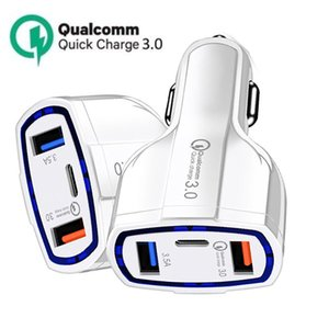 USB Car Charger fast Charging type C QC 3.0 Chargers 3 in 1 Cars Phone Adapter for iPhone Xiaomi huawei Samsung