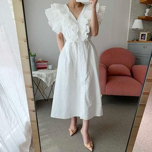 Casual Dresses White Patchwork Ruffles Dress For Women V Neck Sleeveless High Waist A Line Ruched Solid Mid Female 2021 Clothes E872