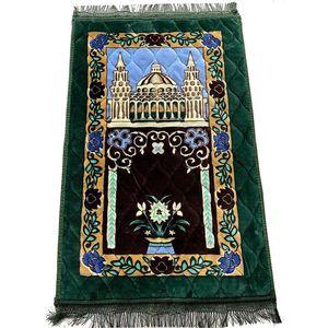 new Thicken Cashmere Muslim Prayer Carpets High-end Chenille Worship Carpet 110*70cm Islamic Musallah Rugs Arab Anti-slip Mat sea ship EWE63