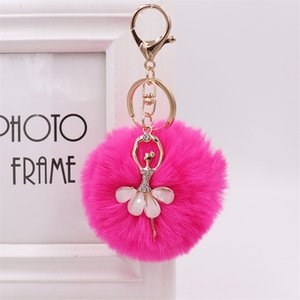 8cm Women PomPom Plush Key Ring Fur Pom Pom Dancing Angel Keyring Fluffy Rex Rabbit Fur Ball Key Chain Handbag Pendant Charm 199 R2