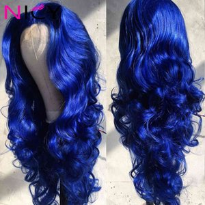 Body Natural Hairline 13x4 Lace Front Hu Hair s Brazilian Pre-plucked Water Wave Deep Blue Wig