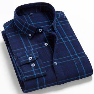 Мужские клетки фланелевые рубашки 100% хлопок Slim Fit Мужской повседневная рубашка с длинным рукавом мягкая удобная дышащая высокое качество